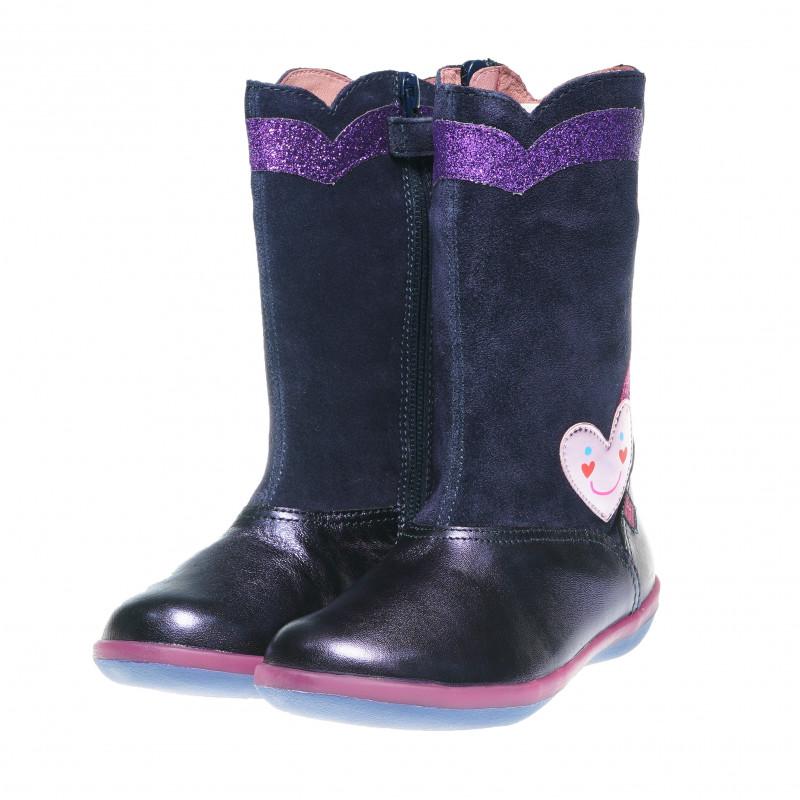 Черни вискоки ботуши за момиче със сърце за декорация от естествен велур  60975