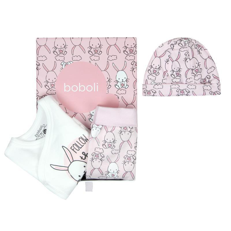 Бебешки комплект от 3 части, розов  64