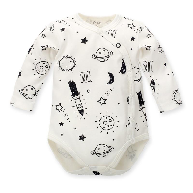 Памучно боди с дълъг ръкав и черен принт на разходка до Луната за бебе - унисекс  684