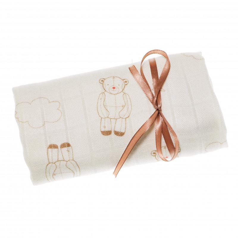 Памучна пелена за бебе с принт, цвят: Бял  69052