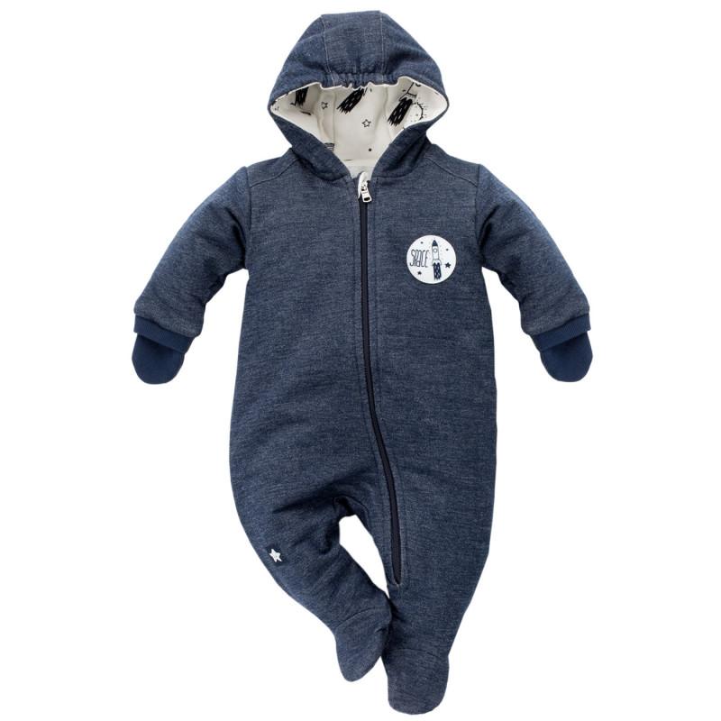 Памучен космонавт с качулка и ръкавички за бебе момче  691