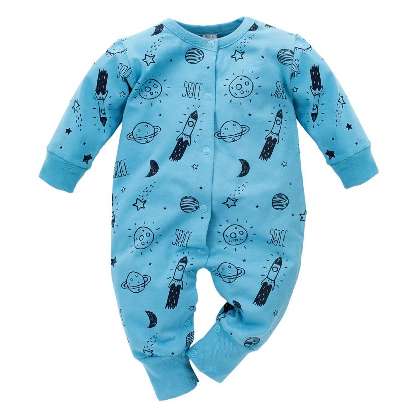 Памучен гащеризон с дълъг ръкав за бебе момче, син  692