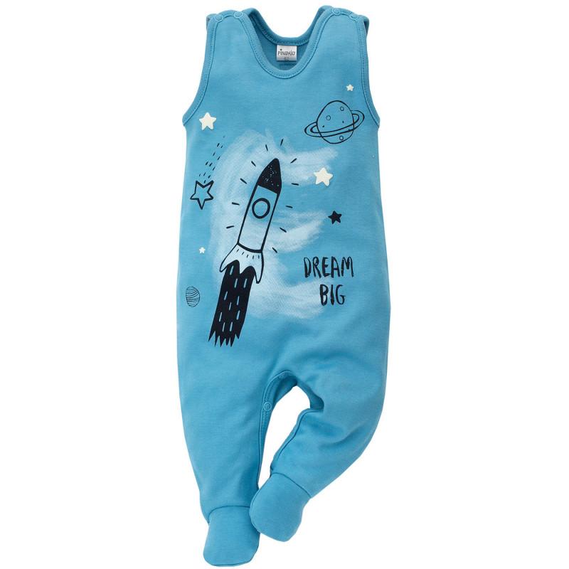 Памучен гащеризон без ръкави с весел принт на ракета за бебе момче  694