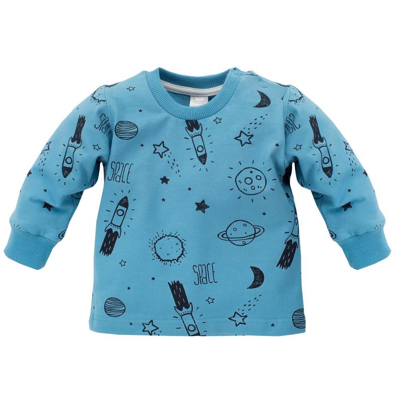 Памучна блуза с дълъг ръкав с принт за бебе момче, синя  696
