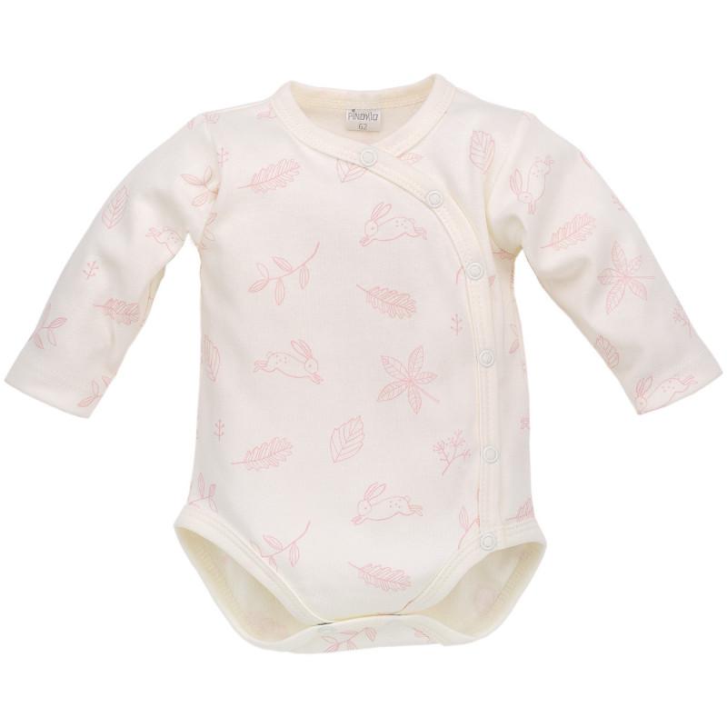 Памучно боди с дълъг ръкав и  нежен розов принт за бебе момиче  700