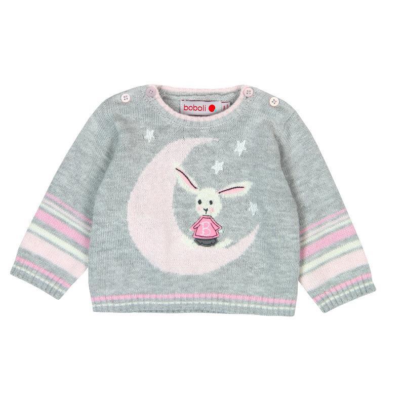 Пуловер с нежна вплетена розова декорация за момиче  72