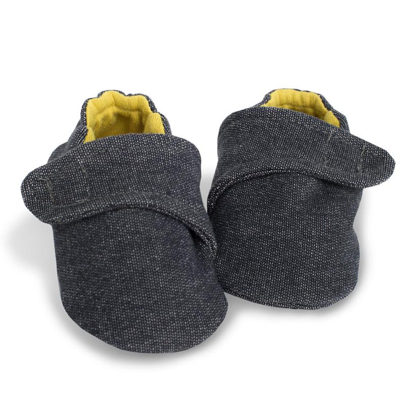 Памучни меки буйки за бебе момче с жълта памучна подплата   721