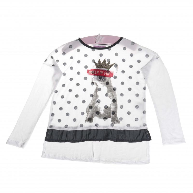 Блуза с дълъг ръкав и с надпис обсипан със сребрист брокат за момиче   7217