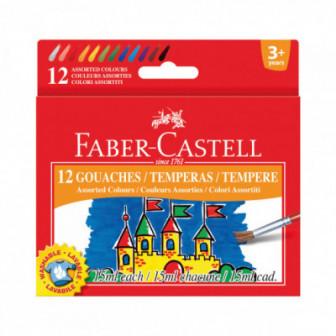 ТЕМПЕРНИ БОИ 12 ЦВЯТА В БУРКАНЧЕТА ПО 15МЛ Faber Castell 72504