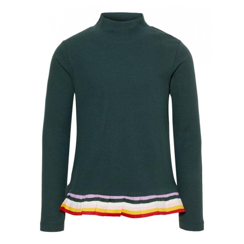 Зелена памучна блуза с дълъг ръкав и къдрички с цвят на дъгата за момиче  72683