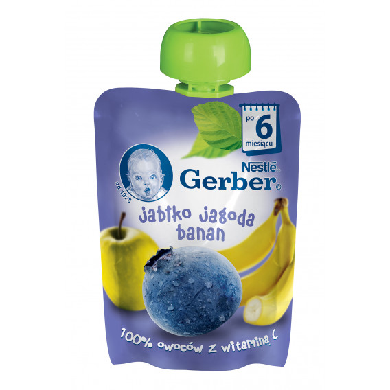 Ябълка, борвинки и банан Nestle Gerber, 6+ месеца, пауч 90 гр. Nestle 73039