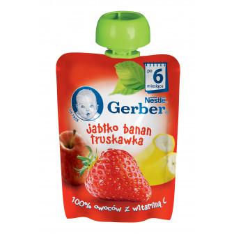 Ябълка, банан и ягоди Nestle Gerber, 6+ месеца, пауч 90 гр. Nestle 73051