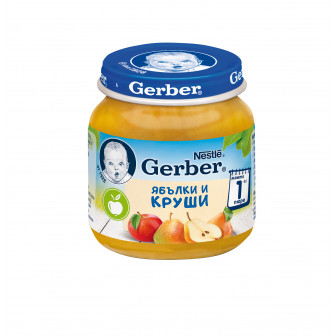 Пюре ябълки и круши Nestle Gerber, 6+ месеца, бурканче 125 гр. Nestle 73059