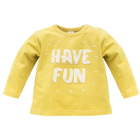 Памучна блуза с дълъг ръкав за бебе - унисекс Pinokio 733
