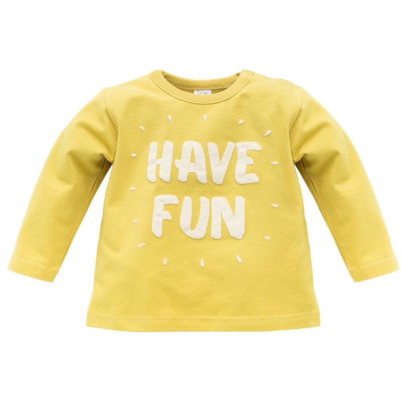 Памучна блуза с дълъг ръкав за бебе - унисекс  733