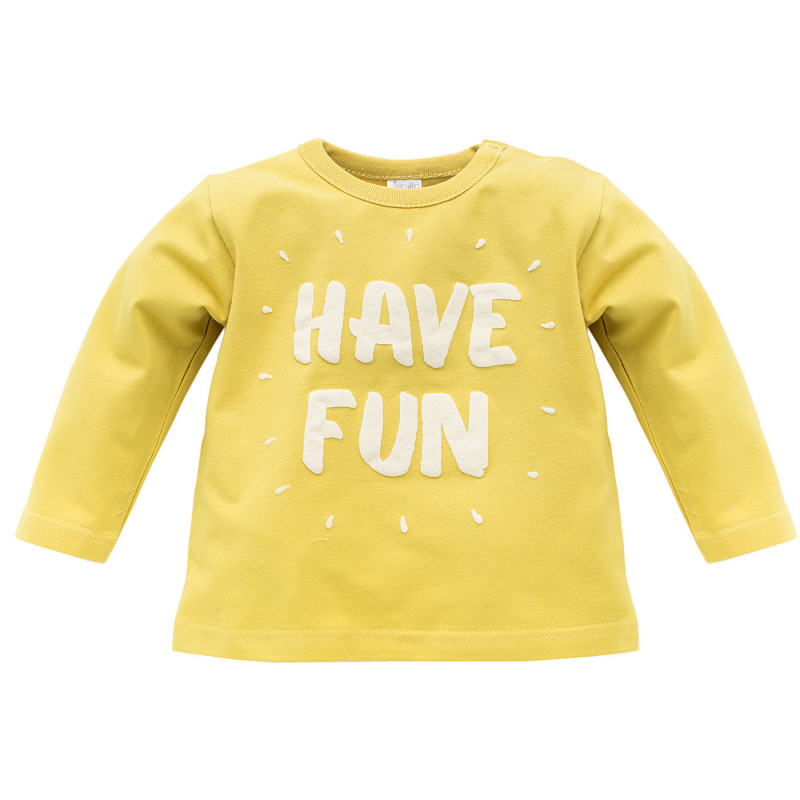 Памучна блуза с дълъг ръкав и релефен принт за бебе - унисекс  733
