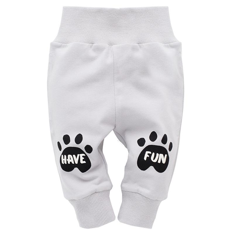 Панталон с принт на лапички за бебе - унисекс  735
