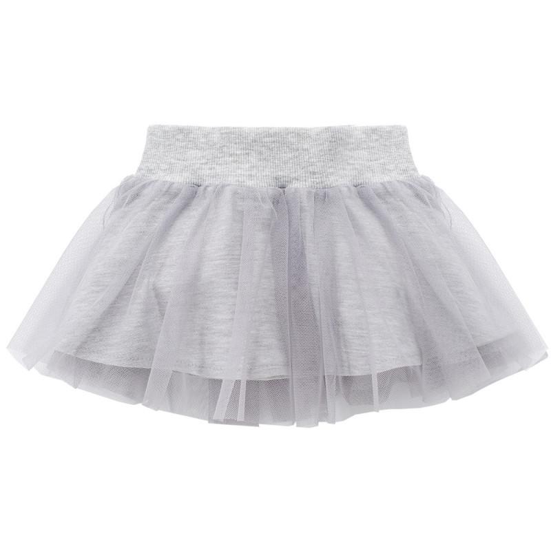 Пола от сив тюл с памучна мека подплата за бебе  751