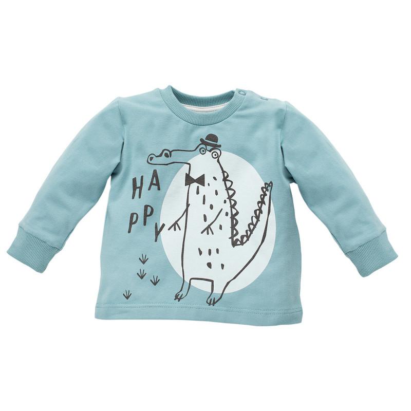 Памучна блуза с дълъг ръкав и принт на крокодил за бебе - унисекс  770