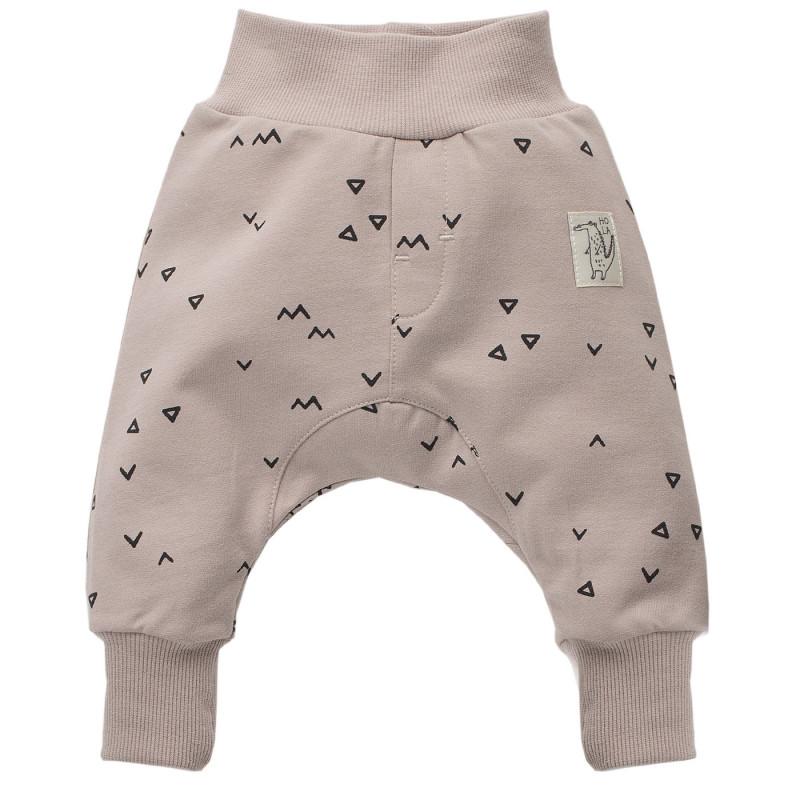 Памучен панталон тип потури на фигурален принт за бебе - унисекс  772