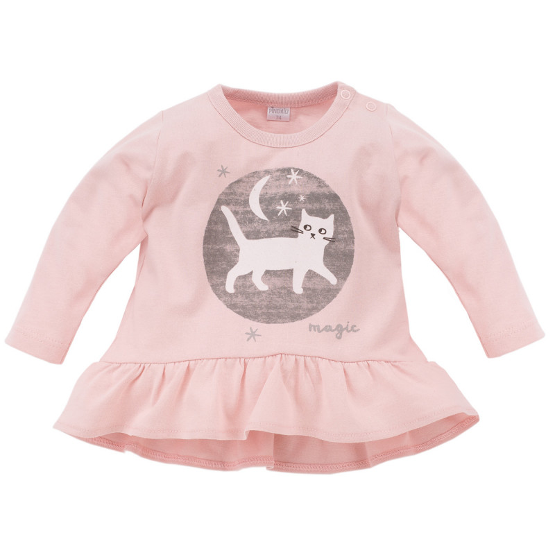 Памучна блуза с дълъг ръкав и апликация коте за бебе момиче  782