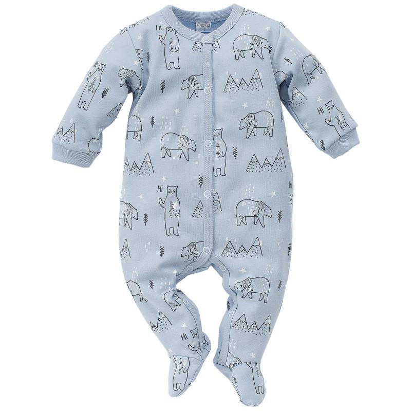Памучен гащеризон с дълъг ръкав и принт на мечета за бебе момче  793