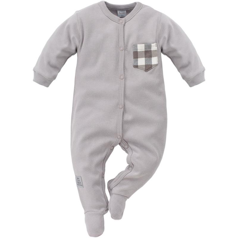 Памучен гащеризон с дълъг ръкав и малко джобче за бебе момче  794