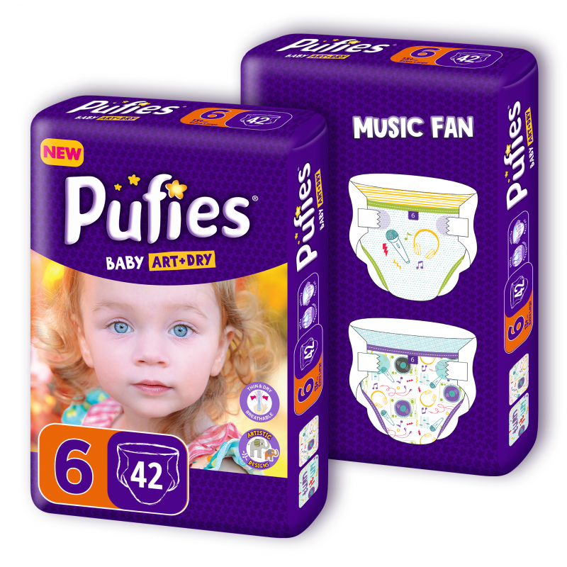 Pufies Baby Art&Dry Duo maxi pack Music fan Еднократни пелени Размер: 6, 84 броя  79743