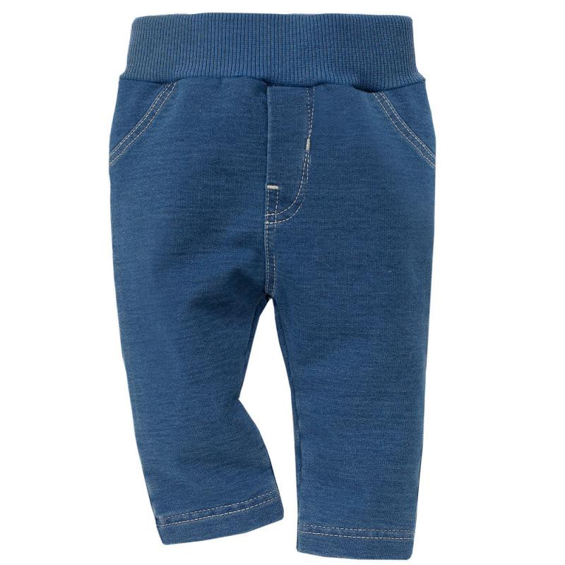 Дънков панталон с рипсен ластик син  800