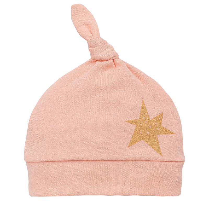 Памучна шапка за бебе момиче със златиста звездичка  805