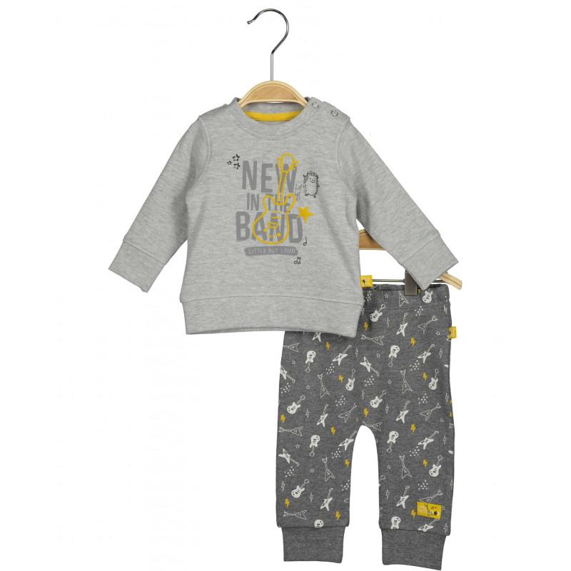 Памучен комплект от 2 части за бебе за момче с музикален десен  81467