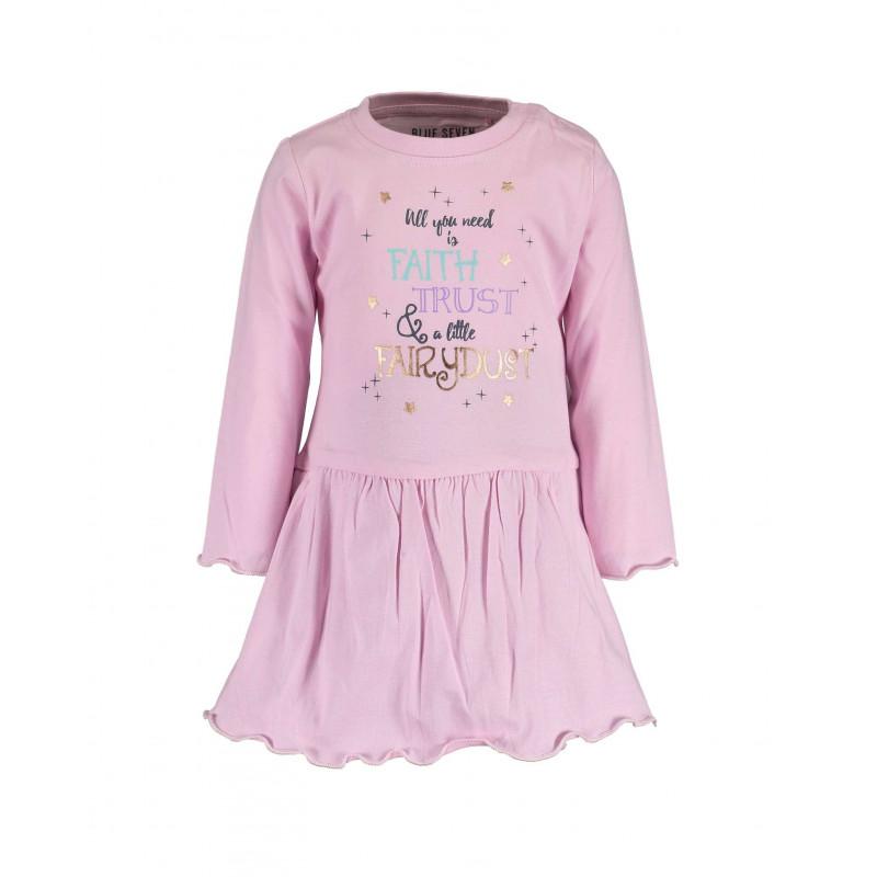 Памучна рокля с дълъг ръкав за бебе момиче  81517