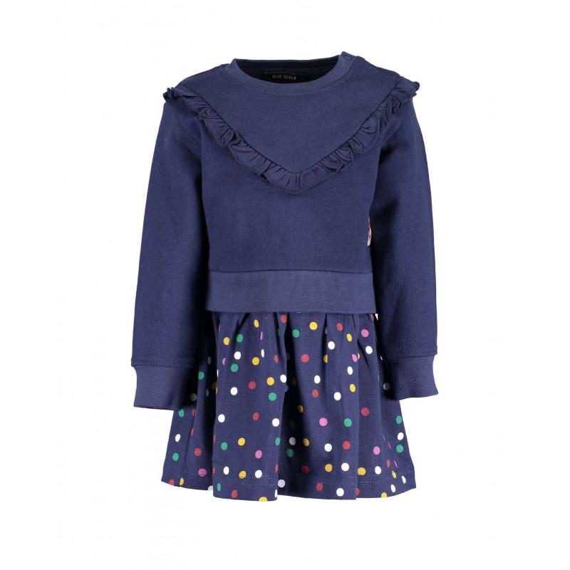 Памучна рокля с дълъг ръкав за бебе момиче  81521