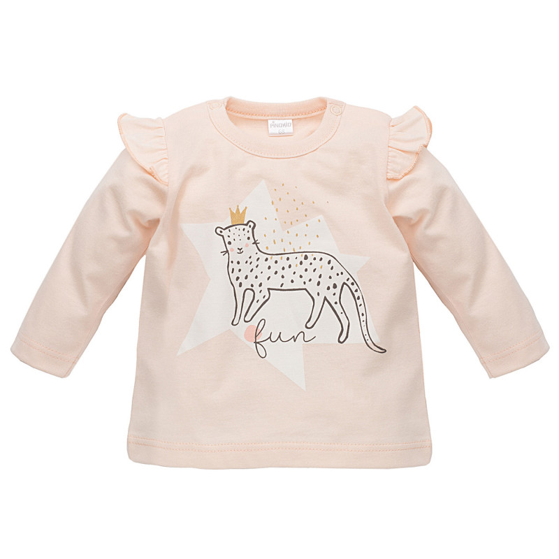 Памучна блуза с дълъг ръкав и къдрички на раменете за бебе момиче  816