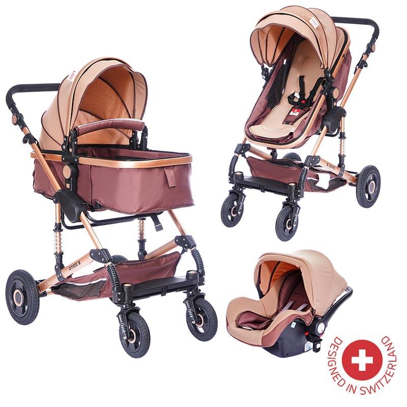 Комбинирана детска количка FONTANA 3 в 1 с швейцарска конструкция и дизайн, бежов  81875