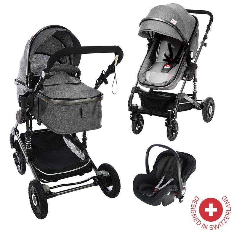 Комбинирана детска количка FONTANA 3 в 1 с швейцарска конструкция и дизайн, сива  81876