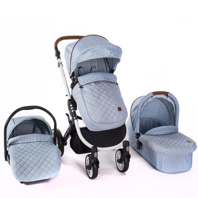 Комбинирана детска количка 3 в 1 Dotty Blue  8233