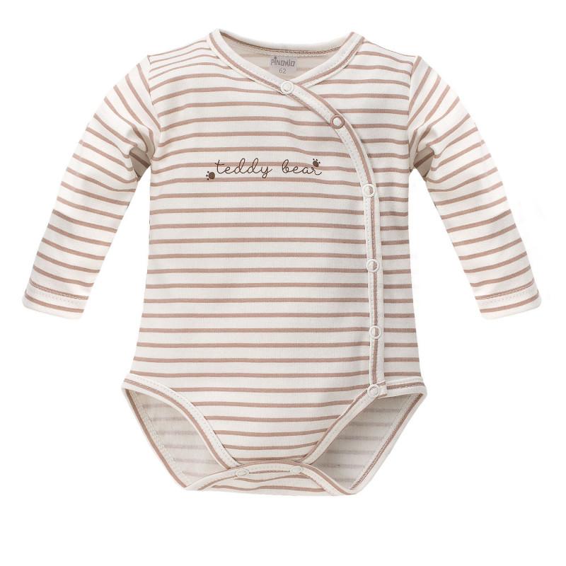 Памучно боди с дълъг ръкав за бебе на райе - унисекс  825