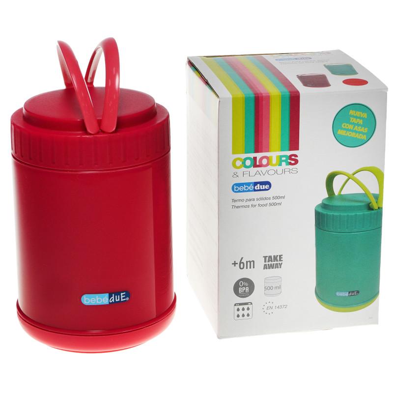 Пластмасов термос за храна, 500 мл., червен  82664