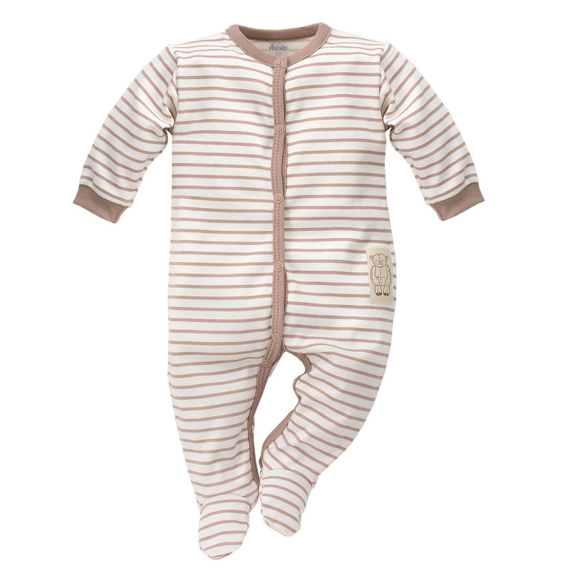 Памучен гащеризон за бебе с деликатни бежови ивици - унисекс  828
