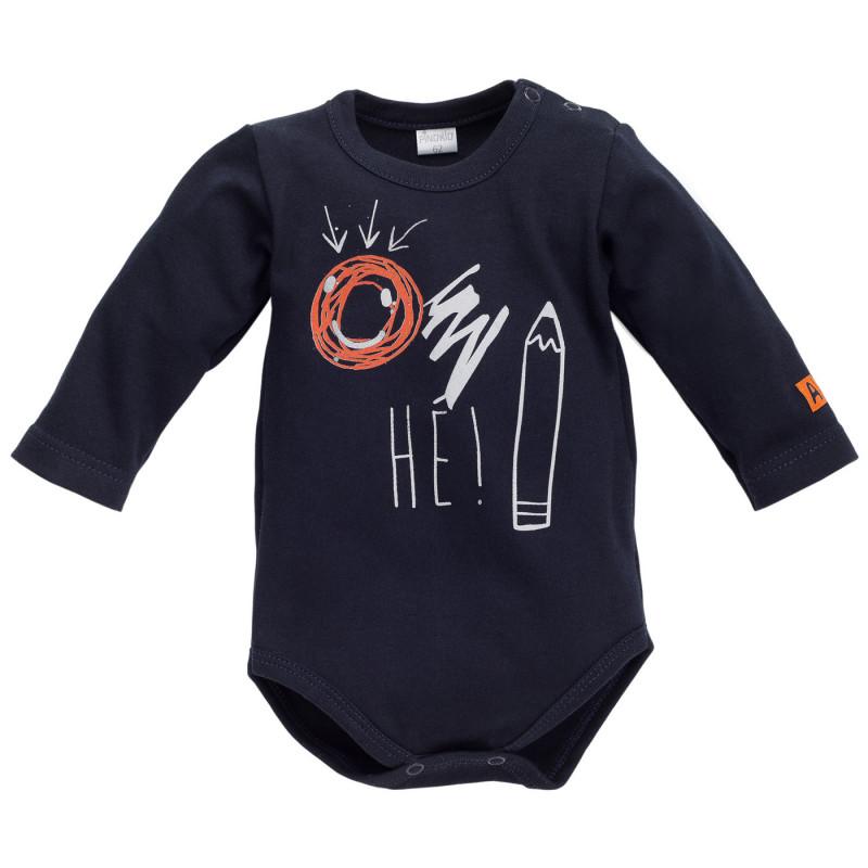 Памучно боди с дълъг ръкав и весел принт за бебе момче  836