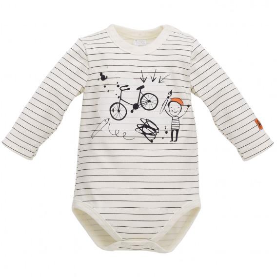 Памучно боди с дълъг ръкав за бебе - унисекс Pinokio 837