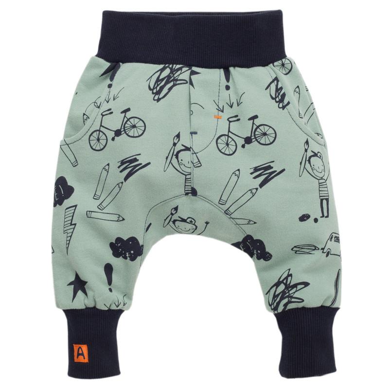 Панталон с принт и широки ластици за бебе момче  855