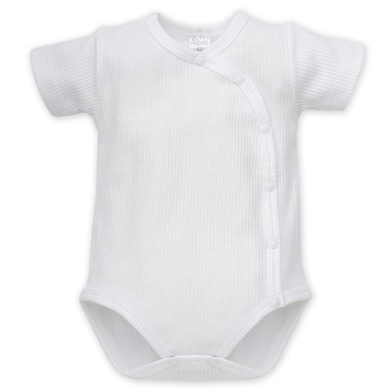 Памучно боди с къс ръкав  и тик-так копчета за бебе - унисекс  859