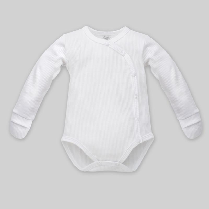 Памучно боди с дълъг ръкав и ръкавички за бебе - унисекс  860
