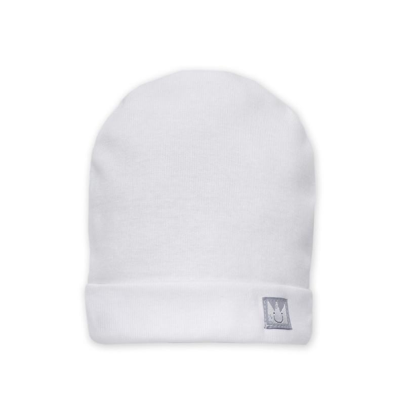 Памучна  шапка за бебе с апликация личице - унисекс  861
