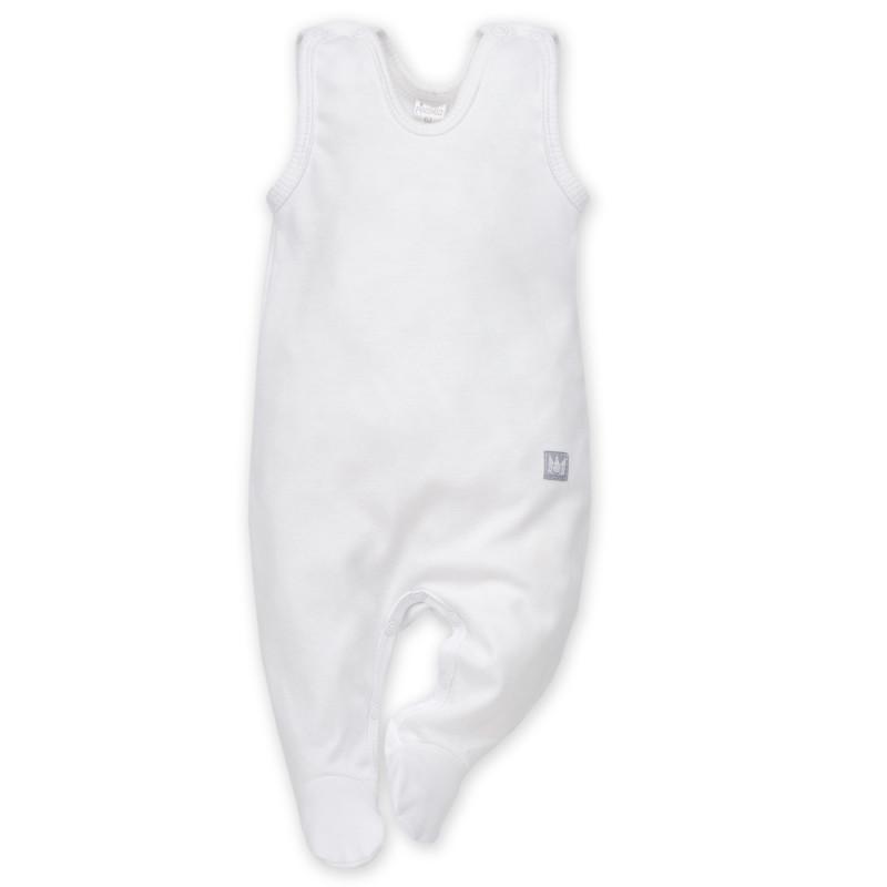 Бял памучен гащеризон без ръкави за бебе  869