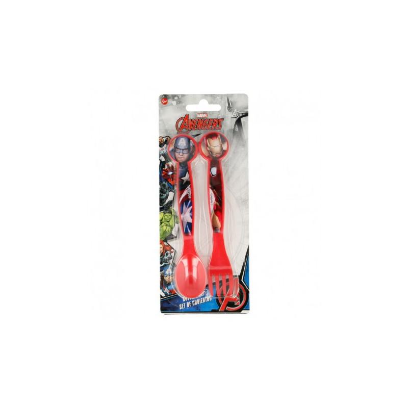 Прибори за хранене с картинка Отмъстителите, 2 бр., червени  8694