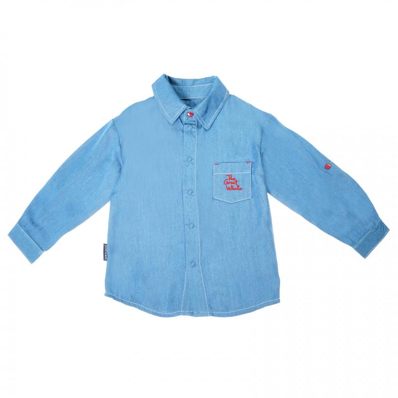 Риза с дълъг ръкав за бебе момче, синя  87678