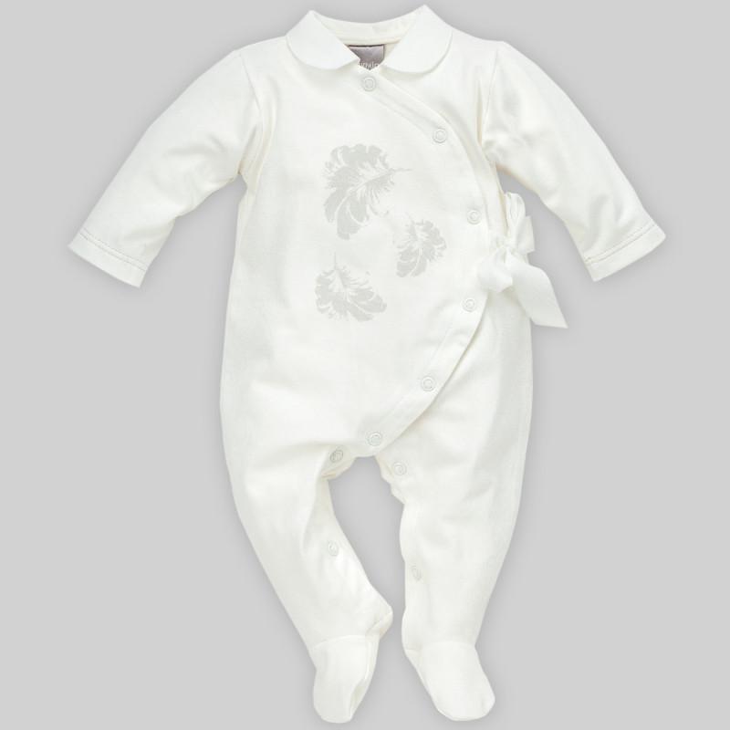 Памучен гащеризон с дълъг ръкав и панделка за бебе момиче  881